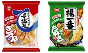 亀田製菓と東洋水産とのコラボ 揚げ一番 緑のたぬき風味 手塩屋 赤いきつね風味