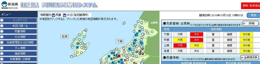 新潟県 河川防災情報システム 台風・大雨・雨量・水位