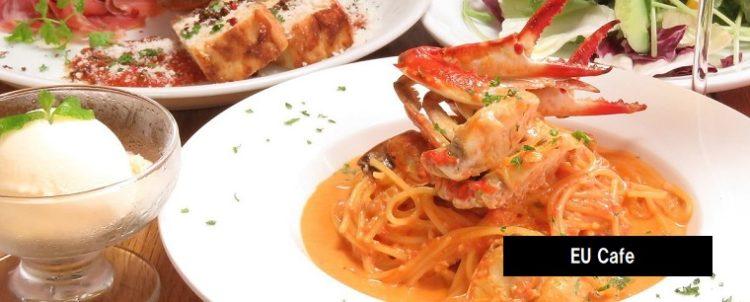 渡り蟹のトマトクリームパスタ CASUAL DINING EU Cafe 長岡市坂之上町