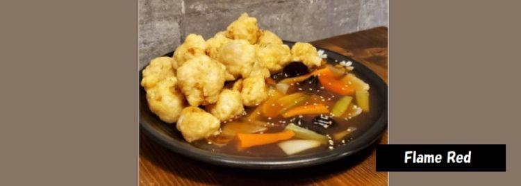 揚げた豚肉に甘酢のソースつけて食べる韓国中華料理 酢豚タンスユク 新潟市中央区南万代町